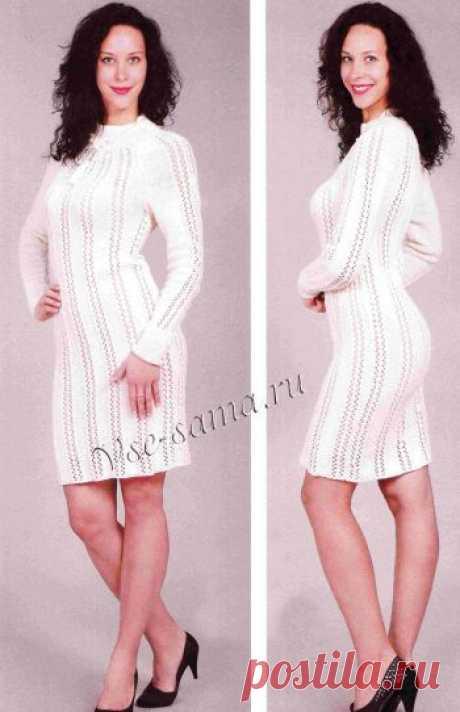 Белое платье с вертикальным узором - Платья и сарафаны