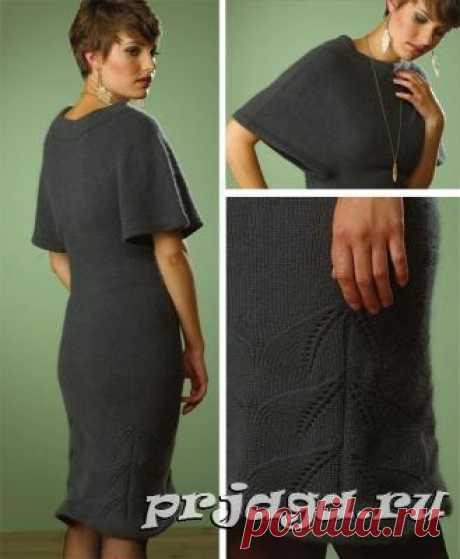 Вязание теплого платья спицами с листовым узором вдоль подола
