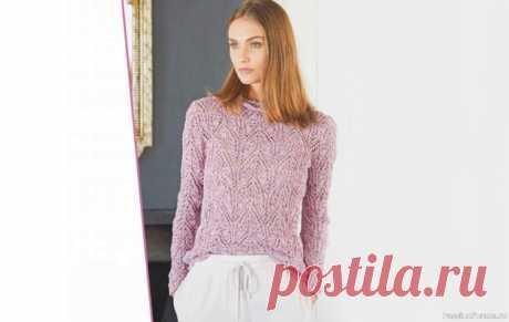 Сиреневый меланжевый пуловер. Схема и описание | Вязание для женщин спицами. Схемы вязания спицами Летний твид: именно такое впечатление оставляет меланжевая пряжа на основе хлопка и льна. Ярко-розовые акценты на сиреневом фоне подчеркивают динамичныйузор пуловера.Размеры:34/36 (42/44)Вам потребуется:пряжа (88% хлопка, 10% льна, 1% полиэстера, 1% нейлона; 120 м/50 г) – 400 (500) г...