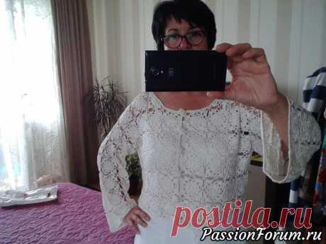 Белоснежный кардиган крючком из элементов | Женская одежда крючком. Схемы и описание