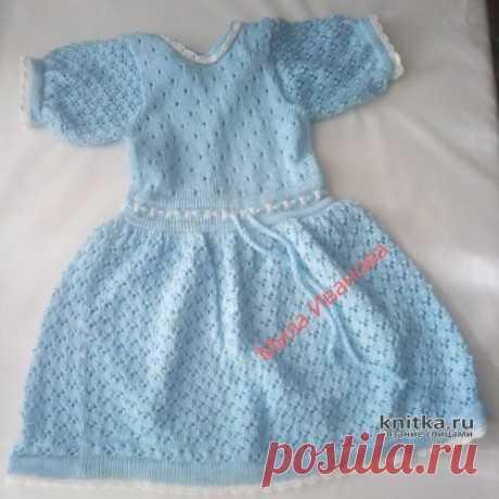 Платье и панама для девочки спицами. Работа Ивановой Людмилы, Вязание для детей
