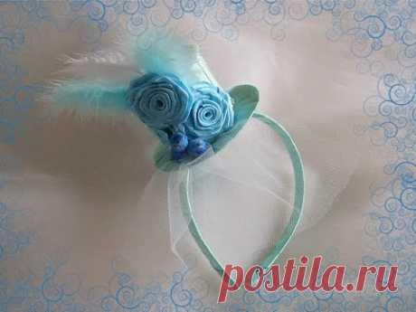 Нежная шляпка для юной модницы/Крученая роза/DIY/Tutorial