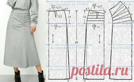 Выкройка-шаблон юбки с драпировкой