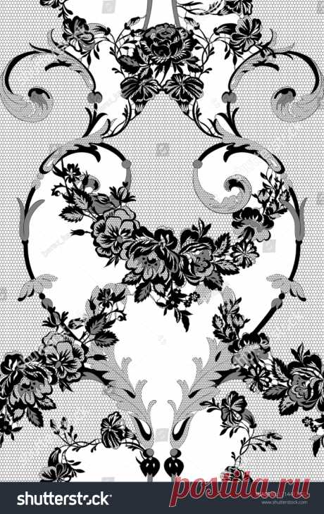 Стоковая векторная графика «Floral Lace Seamless Pattern» (без лицензионных платежей), 1214417302: Shutterstock