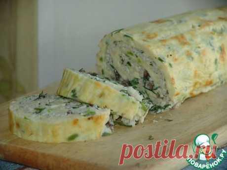 Омлет-рулет с грибами и сыром.