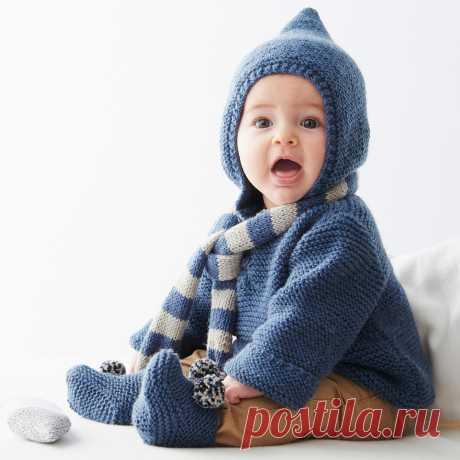 Пуловер с капюшоном, шарфик и пинетки - Verena.ru