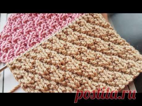 """Вяжем эффектный теневой узор """"Стёганые ромбы"""" 🙋♀️ knitting pattern."""