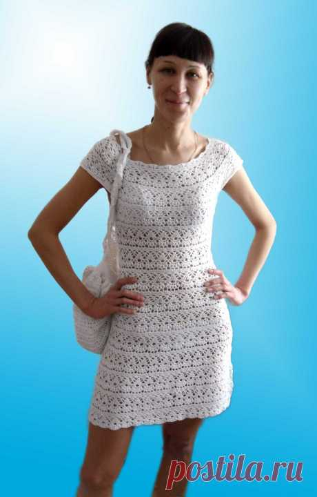 Летнее платье с круглой кокеткой. Крючком. Схема. / peteliki.ru