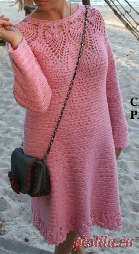 Платье с ананасовой кокеткой из категории Интересные идеи – Вязаные идеи, идеи для вязания
