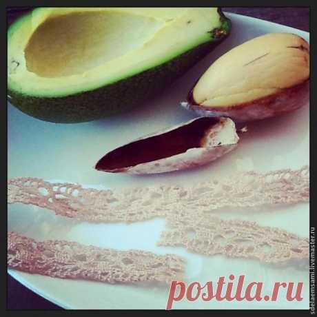 Тонирование кружева шелухой от косточки авокадо