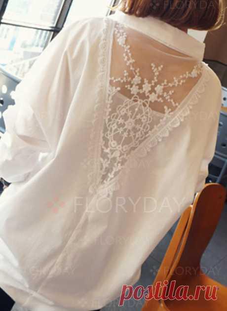 Винтажное Pубашки Длинные рукава Цвет сплошного Ошейник - Floryday