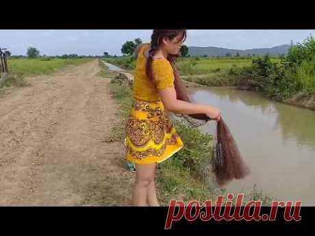 Amazing Fishing Traditional at Salakrao -  Khmer Net Fishing(part27)
