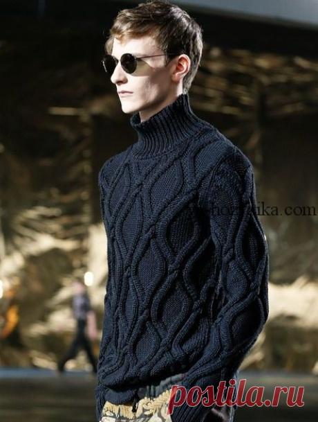 Мужской свитер с косами схема. Узор для мужского свитера спицами Мужской свитер с косами с высокой горловиной. Узор для мужского свитера спицами