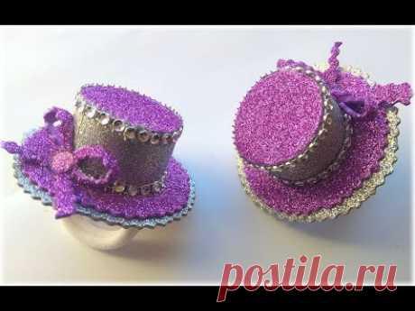 Новогодняя шляпка на резинке из глиттерного фоамирана\МК Шляпка\DIY New Year's hat from foamiran