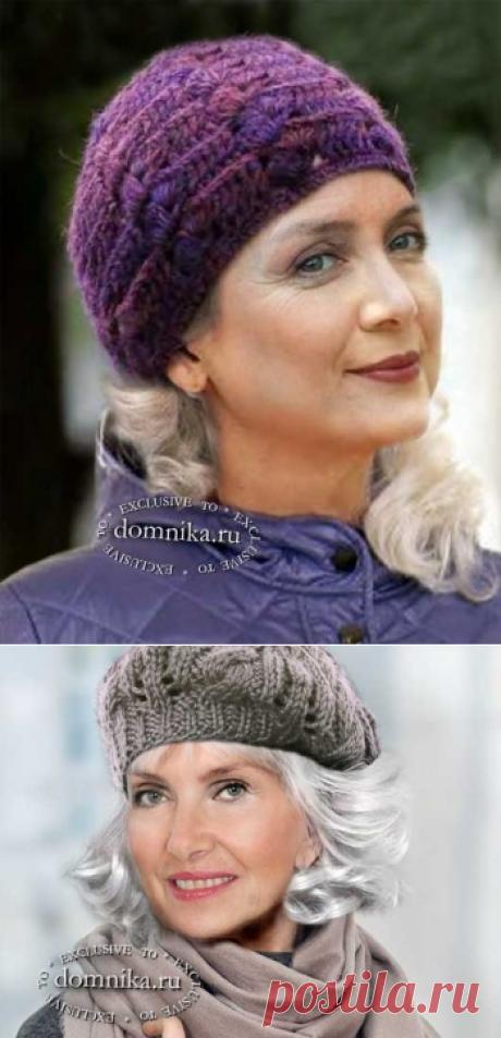 Модный вязаный берет для пожилых женщин - 4 новые модели шапок на осень