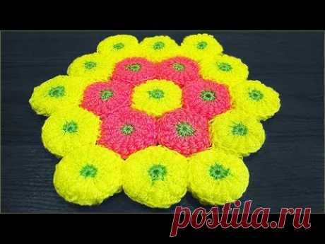 Коврик крючком из мотивов витыми столбиками. Вязание коврика крючком. Crochet rug.