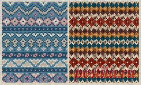 Несколько сотен цветных жаккардовых полосок в стиле Fair Isle - образцы плюс схемы | ЖАККАРДос | Яндекс Дзен