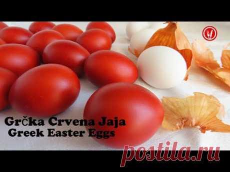 Как покрасить красные яйца шкуркой лука