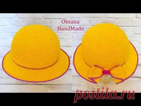 Шляпа крючком с ввязанным бантом. Мастер класс. Women's crochet hat