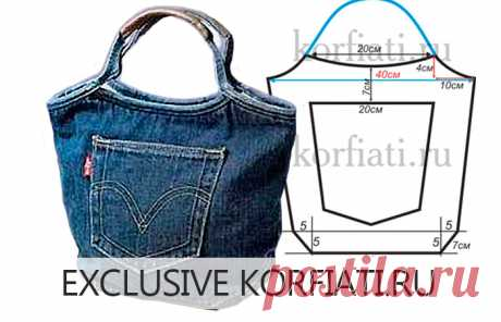 Bag pattern from jeans from Anastasia Korfiati Vykroyka - it is simple to sew bags from jeans! Any dressmaker has in a stock jeans which are a pity for throwing out, and it is impossible to carry. From jeans to sew a jeans bag