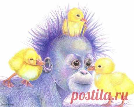 Purple Orangutan and Ducks 8x10 from my original | Etsy