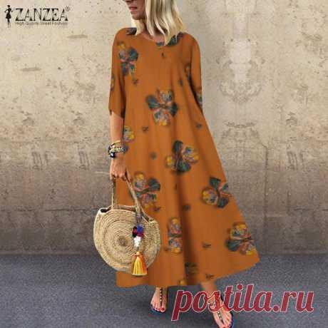 1104.29руб. 39% СКИДКА|Туника Весна сарафан ZANZEA летние женские 3/4 в богемном стиле с цветочным принтом длинное платье размера плюс платья вечерние платья|Платья|   | АлиЭкспресс Покупай умнее, живи веселее! Aliexpress.com