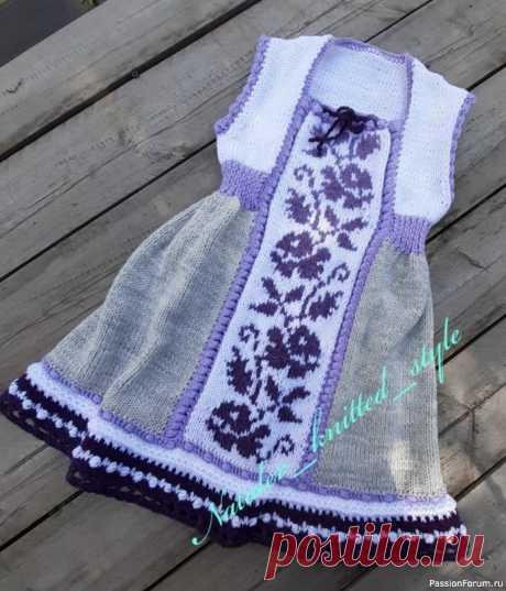 """Платье-сарафан """"Май"""" для внучки   Вязание спицами для детей"""