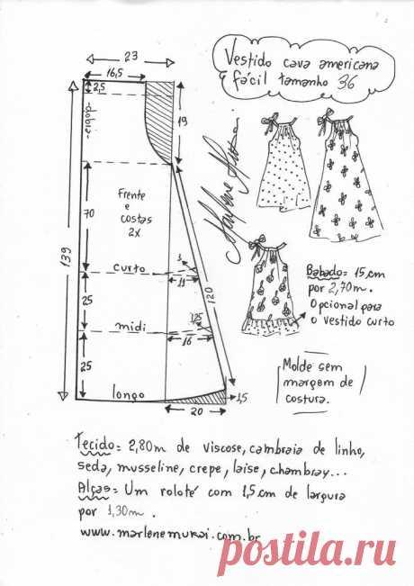 Vestido con sisa americana en 3 tallas - Marlene Mukai