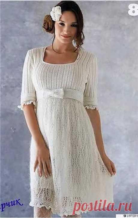 Нежное белое платье.