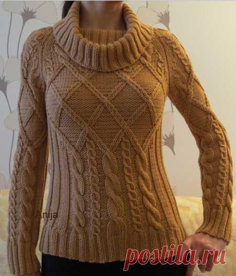 Пуловер с ромбами и косами вязаный спицами. Женский свитер спицами схемы и описание | Домоводство для всей семьи.