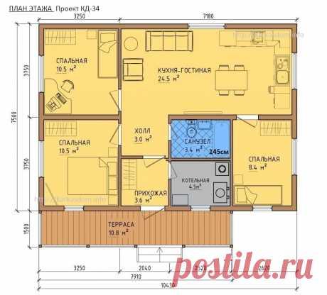 Проект КД-34 (комфорт), Каркасный дом 7,5х10,5 78м2 для строительства своими руками / Каркасный дом своими руками