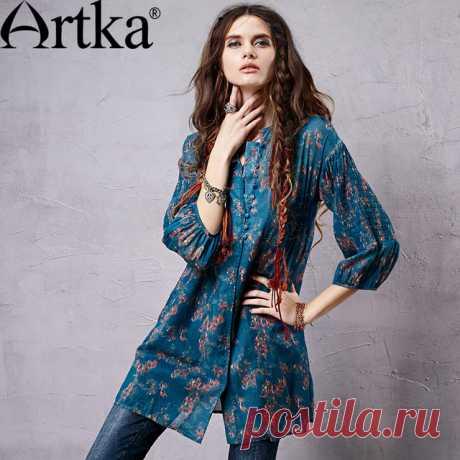 Artka ретро женская осенняя одежда стоячем воротником с длиным рукавом цветочная удобная широкая высококачественная элегантная длиная рубашка с вышивкой SA14157C купить на AliExpress