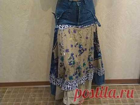 Сшить юбку «бохо» из старых джинсов и сарафана? Легко! - Ярмарка Мастеров - ручная работа, handmade