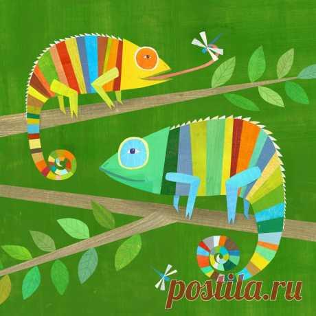 Striped Chameleons Giclee Art Print Lizard Illustration for | Etsy