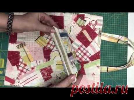 Сумка шопер и косметичка /Утилизация мелких лоскутков /Стежка /Вышивка /