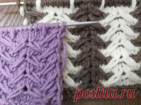 Шикарный ленивый жакард из 2 цветов. Вязание спицами.