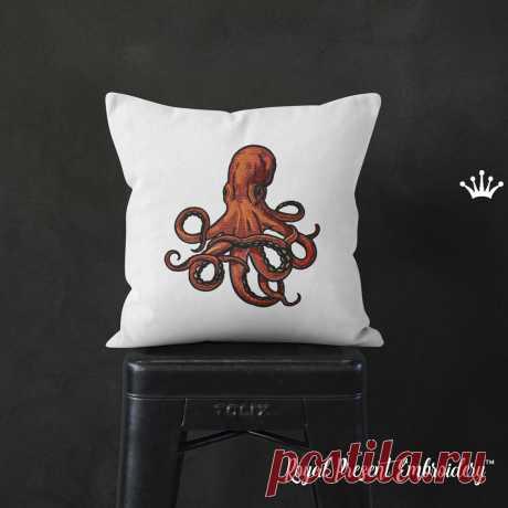 Красный Осьминог Дизайн машинной вышивки - 6 размеров