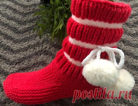 Простые удобные Сапожки одним полотном на двух спицах | Вязание и Рукоделие | Яндекс Дзен