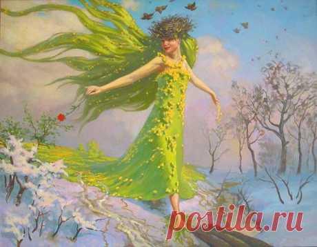 Весна, мимолетная весна. Каждый год она опускается на землю другая, обновленная, прекрасная... Она, как Женщина – Весна… Весёлая, легко одетая, с холодными руками и быстрыми движениями. Рот смеющийся, глаз горящий… Приходит из года в год, пуская свои корни, расцветает в нас, всё больше пьянит наши головы своим запахом, разливает ароматы ожиданья… Показать полностью…