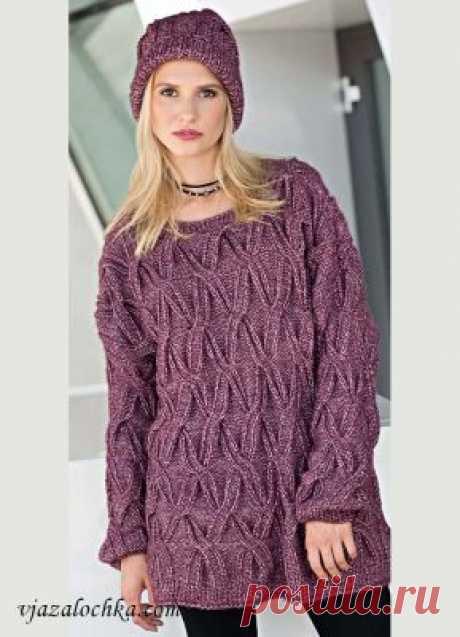 Пуловер оверсайз с рельефным узором