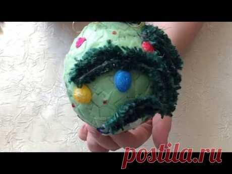 Новогодний шар с веткой из джута. DIY/ рукоделие