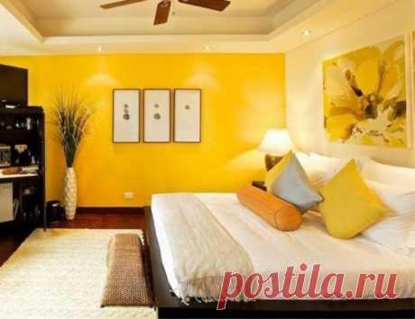 Желтые обои в спальне - МЕРОВЕД