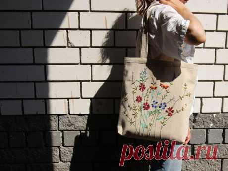 Эко-сумка шоппер с вышивкой: мастер-класс по изготовлению.