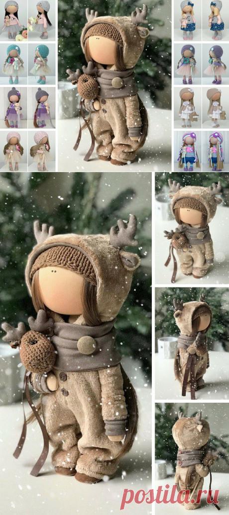 Deer Tilda Doll Handmade Fabric Doll Textile Cloth Doll Poupée