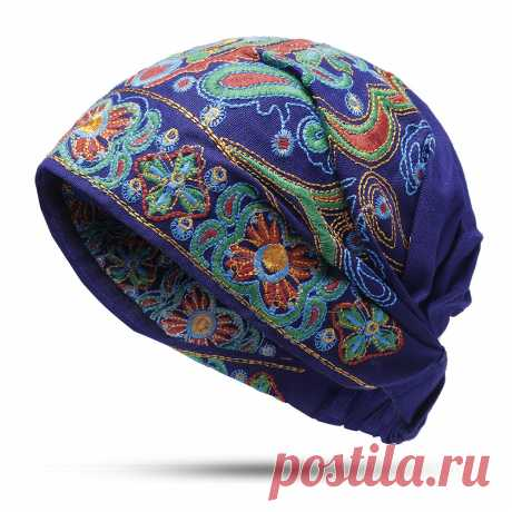 Womens Embroidery Ethnic Cotton Beanie Hat Vintage Good Elastic Breathable Turban Cap Your friend shared a fashion website for you and give you $60 coupons! Claim it now.