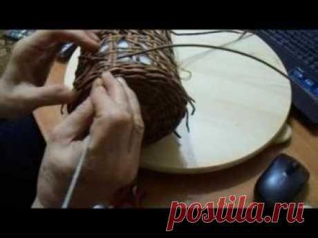 Круглая коробка в японском стиле. Плетение из газет | oblacco