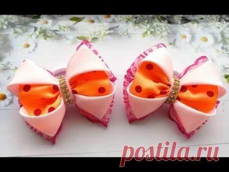Бантики из репса и кружева легкие и красивые / Reps and lace bows / Laços de fitas