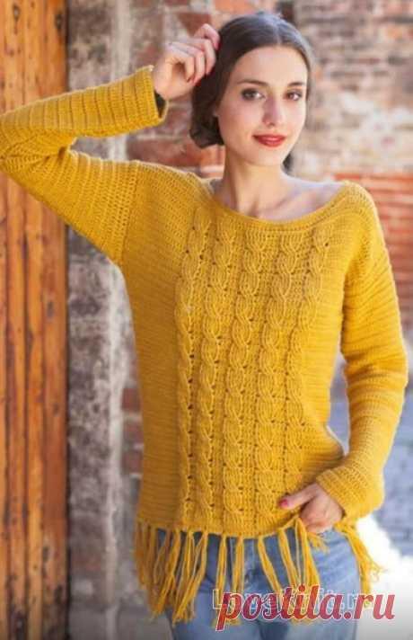 Пуловер с бахромой