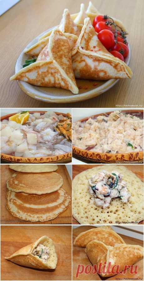 Оладушки с начинкой из морепродуктов