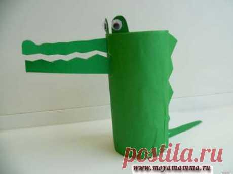 """Крокодил из втулки для детей пошагово с фотографиями Поделка Крокодил из втулки. Изготовление детской поделки из втулки и цветной бумаги """"Крокодил"""" с описанием и пошаговыми фото."""